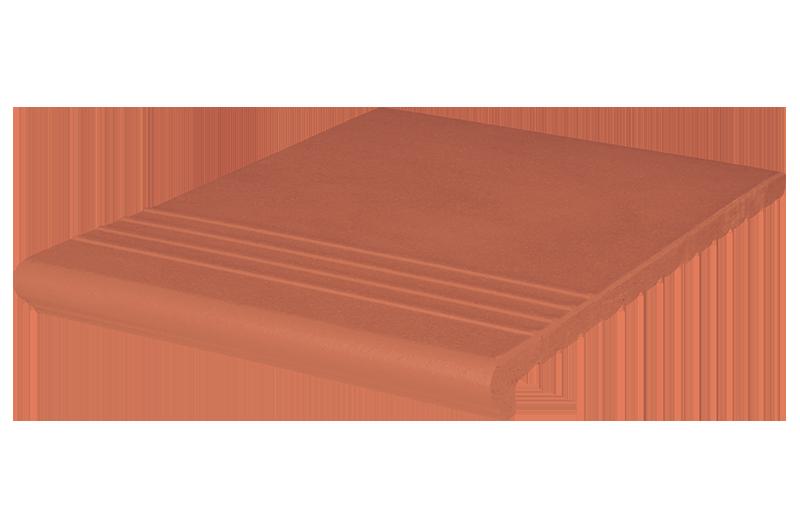 Венецианско клинкерно стълбищно стъпало Ruby red (01)  - с допълнително оребрение за противохлъзгане